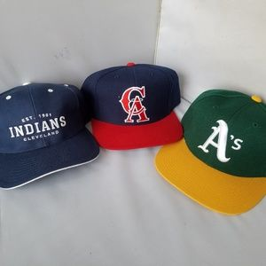 Lot of 3 Adjustable Hats MLB CA Cleveland Oakland